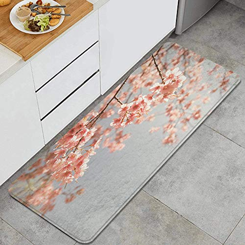 LUNASVT Peach,Japanese Scenery Sakura Tree Cherry Blossom Nature Photography Coming of Spring Anti Fatigue Kitchen Mat Comfort Floor Mats Non-Slip Oil Stain Resistant Easy to Clean Kitchen Rug