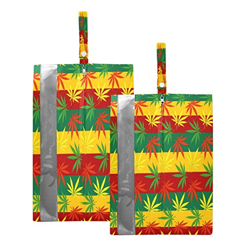 Mnsruu Bolsas de zapatos de viaje con rayas de marihuana, 2 piezas, tamaño estándar: 23 x 38 cm, tamaño XL: 23 x 43 cm)