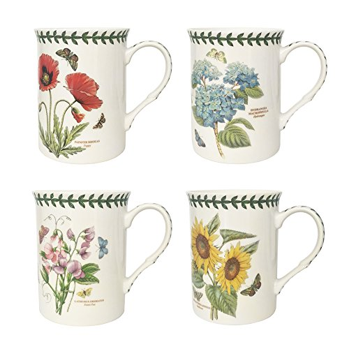 Botanic Garden - Juego de 4 Tazas de Porcelana, Multicolor, 8,5 x 12 x 10,5  cm