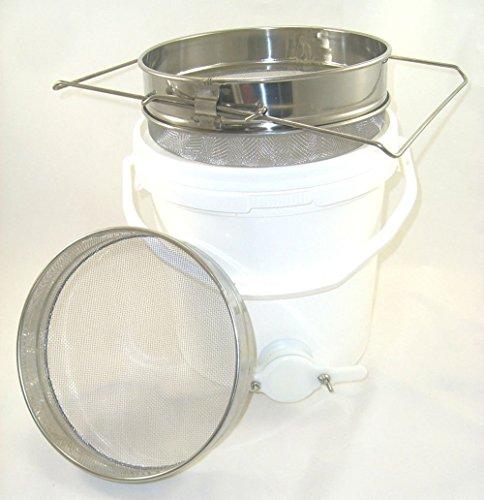 HanSemay Honey assestamento serbatoio da 20litri con valvola e colino in acciaio INOX scorrevole doppio Honey, Honey Bucket filtro Miele extraction-beekeeping