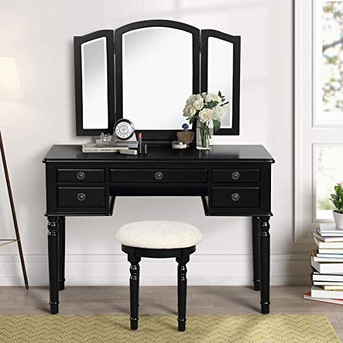 CHARMAID Vanity Set with Tri-Folding Mirror and 5 Drawers, Modern Bedroom Vanity Table with Detachable Top and 180° Rotating Mirror, Makeup Dressing Table with Cushioned Stool for Women Girls (Black)