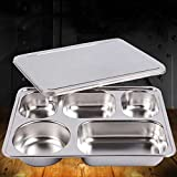 Leoie Stainless Steel Lunchbox Divided Lunch Food Container Bento Box Tray with Cover