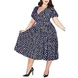 LOPILY 50er Jahre Kleid Große Größen Gepunktes Wickelkleid Sexy V-Ausschnitt Vintage Retro Kleid Rockabilly Kleid mit Punkte Muster Midikleid Übergrößen für Hochzeit Gast (Marineblau, DE-50/CN-5XL)