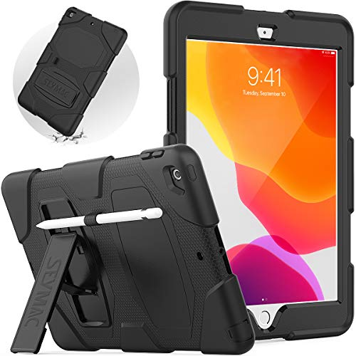 SEYMAC Case for iPad 10.2 inch, New iPad 8th Generation 2020, iPad 7th Generation 2019 Case with Stand and Pencil Holder, Heavy Duty Shockproof Case for iPad 7 Gen/iPad 8 Gen, Black
