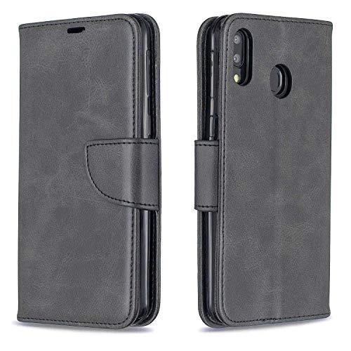 GIMTON Hülle für Galaxy M20, Kratzfestes PU Leder mit Magnetisch Verschluss und Kartenfach für Samsung Galaxy M20, Hochwertige Brieftasche Tasche, Schwarz