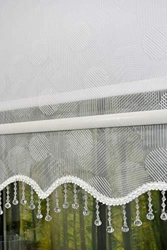kskeskin Doppelstoff Rollo mit Perlen Volant Transparent oder Blickdicht Farbe Weiß Stoff 18R05 (B 140 cm L 200 cm)