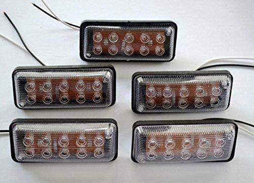 5 x 24 V 10 LED avant côté marqueur blanc - Lumières pour châssis de camion, remorque, caravane, camper, camping-car