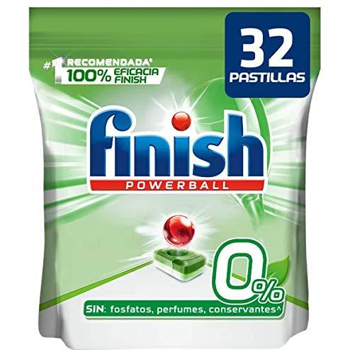 Finish Powerball 0% All in 1 - Pastillas para el lavavajillas, Formato 32 pastillas