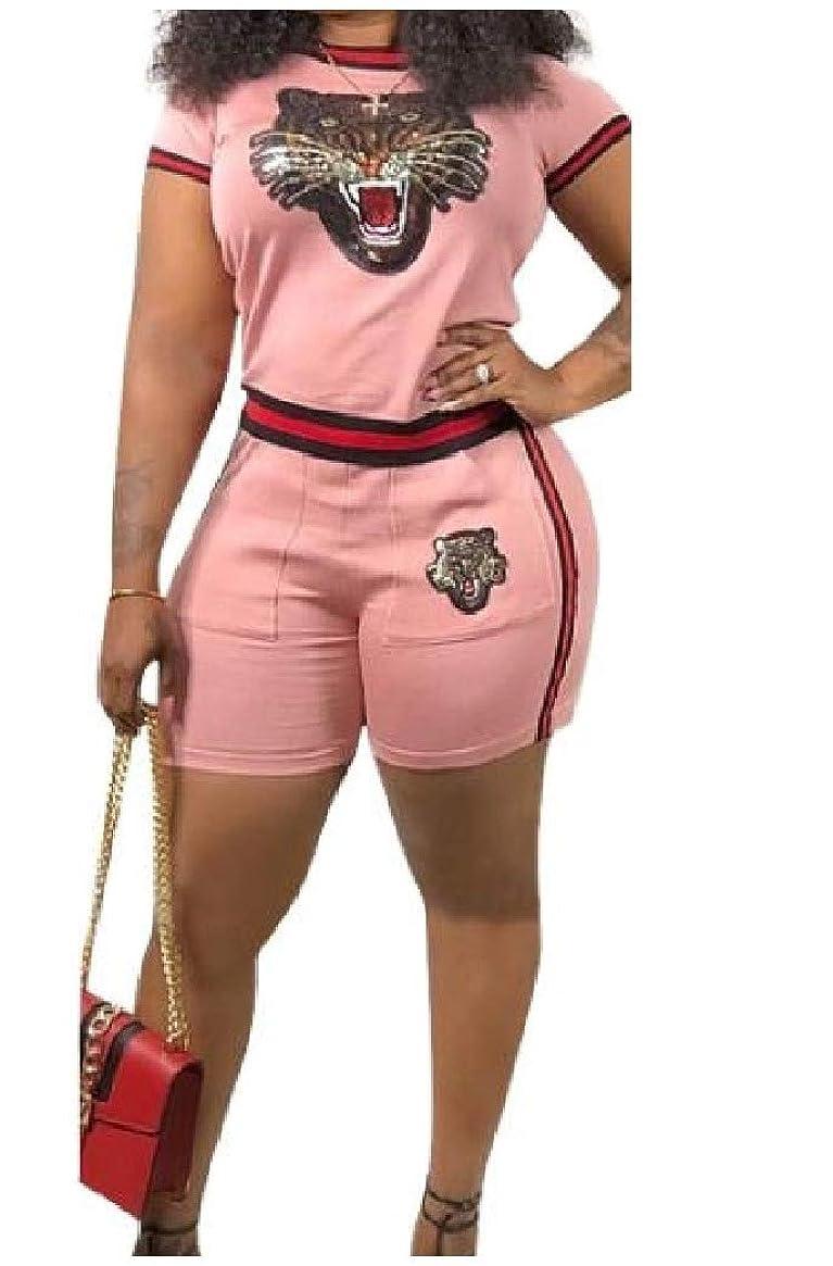 近くドラム皮肉GodeyesW 女性2ピースムーブメント半袖カジュアルTシャツとショートパンツ