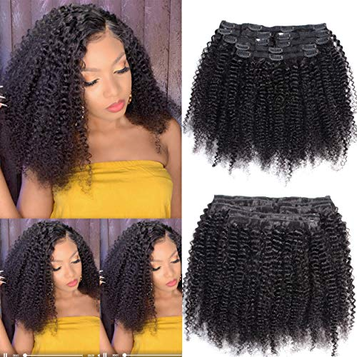 WENYU Afro Kinky Curly Clip in Hair Extensions Human Hair For Black Women 8A Brazilian Real Remy Hair Kinky Curly Human Hair Clip ins Natural Black 16 Inch, Arfo Kinky Curly Clip in Hair Extensions)