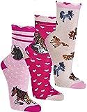 socksPur Computer-Kinder- Söckchen ROMANTIK PFERDE 3er- Bündel (Gr. 31-34, 3165:,Romantik Pferde rosa-pink-natur)