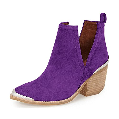 YDN Women Ankle Booties Low Heel Faux Suede Stacked Boots Cut Out Shoes with Metal Toe Purple 8