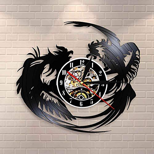 BFMBCHDJ Killer Rooster Farmhouse Dekor Tough Rooster Fight Club Kickboxen Wanduhr Fighting Roosters Chicken Vinyl Record Wanduhr