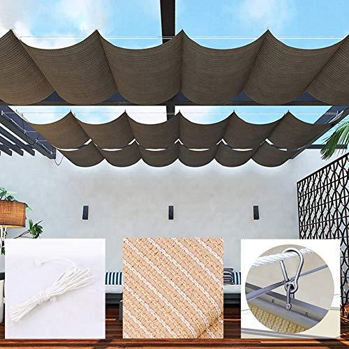 WXQIANG Toldo retráctil de tela de sombra para exteriores, toldo para patio, pérgola transpirable, marrón, tamaño personalizable, protección solar, aislamiento térmico,