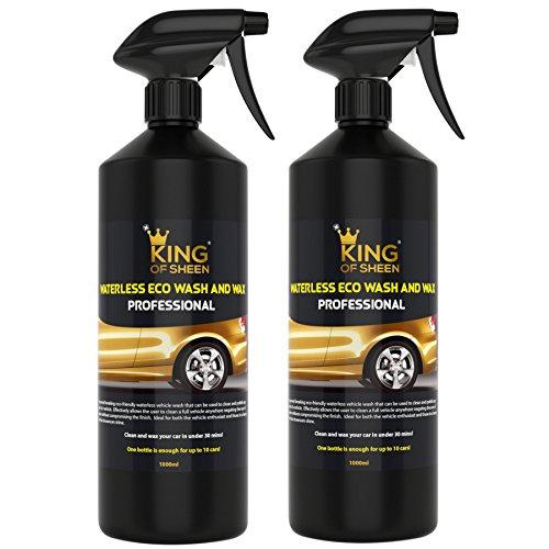 King of Sheen - Limpiador de coche profesional sin agua para lavado y encerado, sin agua, simplemente limpia y brilla como nuevo, limpieza de coche, spray líquido, acabado brillante. 2 x 1 Litro
