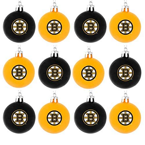 FOCO NHL Boston Bruins 12 Pack Ball Hanging Tree Holiday Ornament Set12 Pack Ball Hanging Tree Holiday Ornament Set, Team Color, One Size
