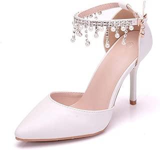 Melesh Simple Princess Sandals for Women Sweet White Pearl Wedding Bridal High Heels