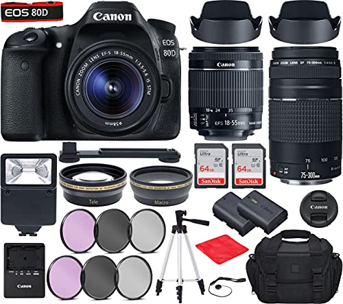 Canon EOS 80D DSLR Camera with EF-S 18-55mm f 3.5-5.6 is STM, EF 75-300mm f 4-5.6 III Lenses Bundle, Travel Kit with Accessories(Gadget Bag, Extra Battery, Digital Slave Flash, 128Gb Memory and More)