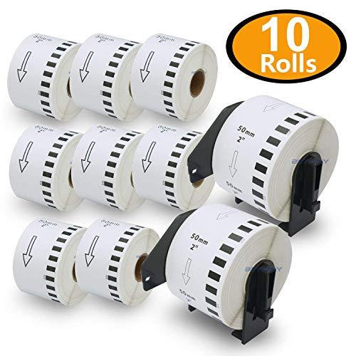 10ロール ブラザー ラベル 50mmx30.48m Brother 長尺紙テープ DK-2223 感熱ラベルプリンター用 + 2個 セット 専用互換カセットフレーム(ロール交換可能タイプ)