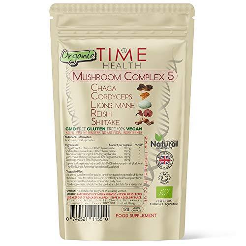 Organic Mushroom Complex 5 | EU Grown Mushrooms | Lion's Mane, Cordyceps, Chaga, Shiitake & Reishi | 550mg Capsules | UK Made | Nothing Added | GMP Standards (120 Capsule Pouch)