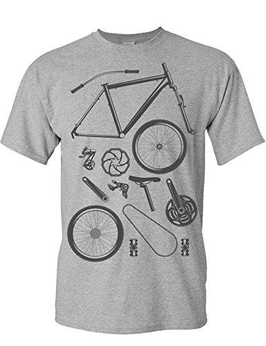 T-Shirt: Bike Parts - Fahrrad Geschenke für Damen & Herren - Radfahrer - Mountain-Bike - MTB - BMX - Fixie - Rennrad - Tour - Outdoor - Sport - Urban - Motiv - Spruch - Fun - Lustig, Grau Meliert, XL