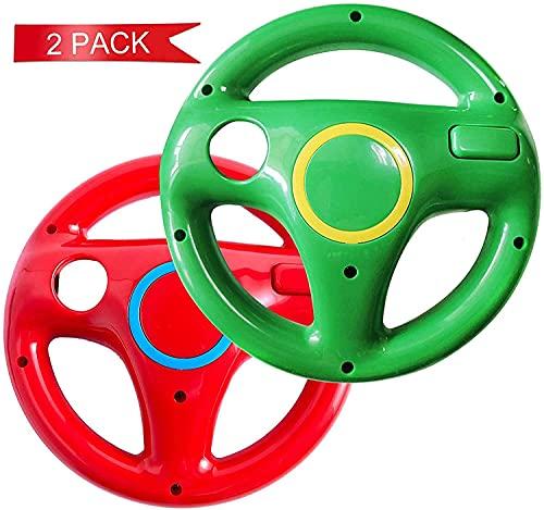 DOYO Volante per Wii Controller per Nintendo Wii, Sterzo da Corsa per Mario Kart Pacco da 2, Volante da corsa per Wii (Rosso e Verde)