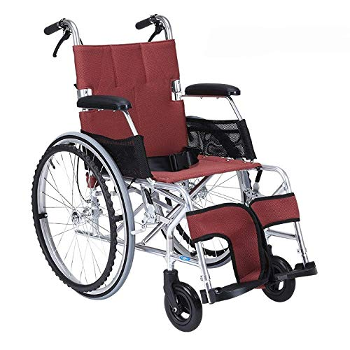 MJY Rollstuhl Klappbarer Leichter Rollstuhl Ultraleichtes kleines Rad Old Man Trolley Aviation Titan Aluminium Rollstuhl, B-Rot