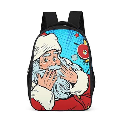 NiTIAN Kerstmis druk tiener school tas laptop casual schooltas rugzak meisjes en jongen functionele rugzak dagrugzak voor buiten onderweg 32 c * 18 * 42 cm Kerstman