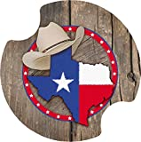 Thirstystone Cowboy Texas Themed Car Cup Holder Coaster, 2-Pack, 2.25'
