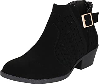 Cambridge Select Women's Western Laser Cutout Whipstitch Low Stacked Heel Ankle Bootie