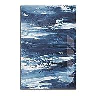 ミニマリスト抽象キャンバス青い絵画反射ポスター印刷画像リビングルームの壁アートホーム北欧の装飾4-5150x75cmフレームレス