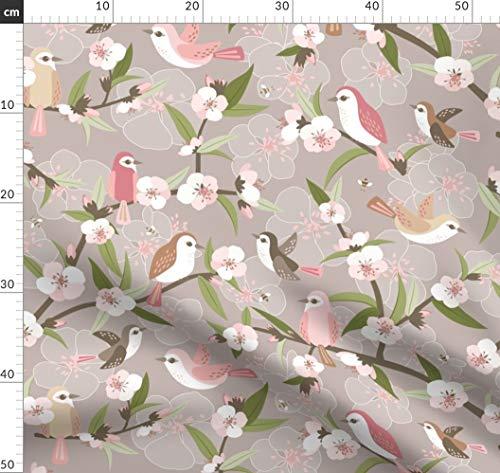 Dekostoff Tiere /& Blumen grün bunt Canvasstoff Patchwork Optik Sommer Vögel