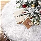 BUZIFU Falda para el Árbol de Navidad Blanca 120 cm, Base de Árbol de Navidad, Adornos de Falda de Árbol de Piel Sintética, Alfombra Árbol Navidad, Fiesta de Navidad y Decoraciones para el Hogar