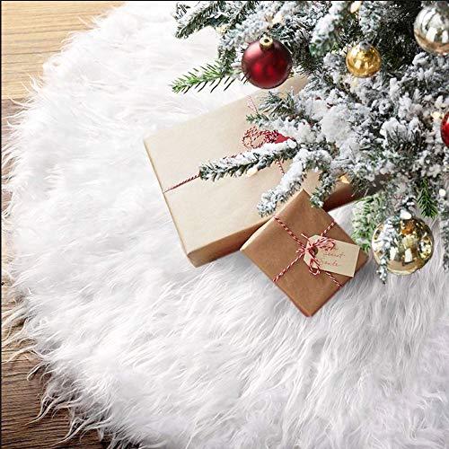 BUZIFU Weihnachtsbaumschürze 48zoll/122cm Weißer Plüsch Weihnachtsbaum Rock Kunstfell Weiß Plüsch Rock Rund Snow Weiß Christbaumdecke Weihnachtsbaum-Plüsch-Teppich für Weihnachtsfeiertag Dekorationen