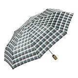 EZPELETA Paraguas Plegable antiviento de Mujer|Abre-Cierra automático|Tejido Especial|Paraguas con Funda|Estampado Cuadros (Verde)