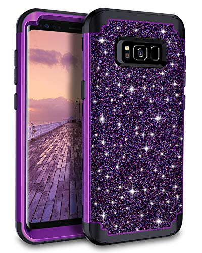Casetego Compatible Galaxy S8 Case,Glitter Sparkle Bling Three Layer Heavy Duty Hybrid Sturdy Armor Shockproof Protective Cover Case for Samsung Galaxy S8,Shiny Purple