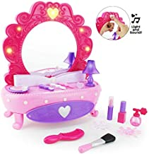 Boley Fashion Vanity Mirror - 38 Piece Play Set with Pretend Makeup for Little Girls, Table with Light-Up Musical Mirror, Fake Cosmetics Kit, Hair Accessories, and More! for Little Kids and Toddlers