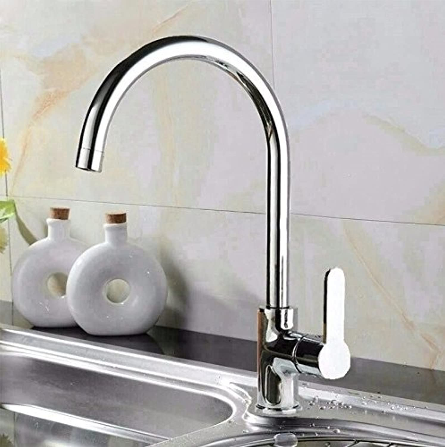 Commercial Single Lever Pull Down Kitchen Sink Faucet Brass Constructed Polished Kitchen Faucet, Hot and Cold Copper Sink Faucet, Laundry Pool Dishwashing redatable Universal Sink Faucet
