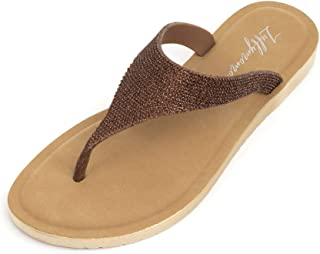 LUFFYMOMO Womens Rhinestone Sandals Slip On Fashion Comfortable Glitter Flat Sandals
