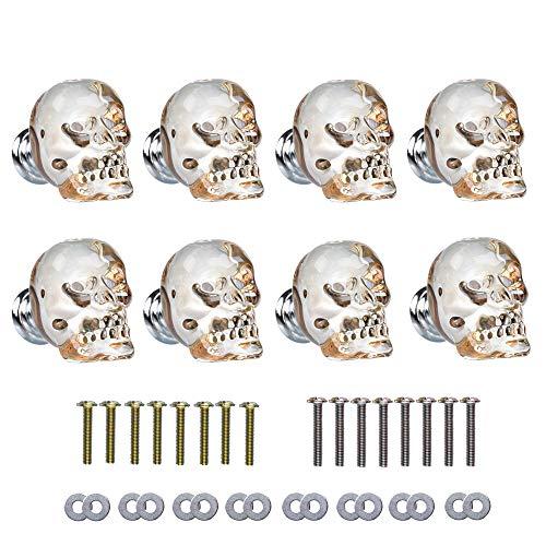 Schädelknauf aus Aluminiumlegierung, 4,4 x 3,8 cm, 8 Stück, champagnerfarben