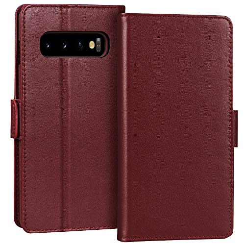 "FYY Samsung Galaxy S10+ Plus 6.4"" Luxury[Cowhide Genuine Leather][RFID Blocking] Handcrafted Wallet Case, Handmade Flip Folio Case with[Kickstand Function]and[Card Slots] for Galaxy S10+ Plus Wine Red"