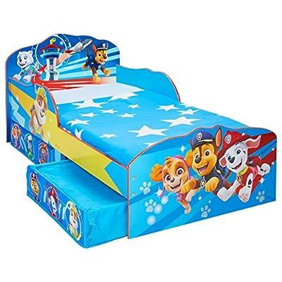 Paw Patrol La Patrulla Canina-Cama Infantil para niños pequeños con cajón Inferior, 143cm (L) x 77cm (W) x 63cm por Worlds Apart