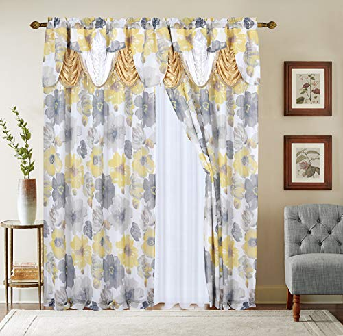 """Gentle Home 2PC Flower Print Curtain Window Panel Set with Attached Valance with Beads Sheer Backing and 2 Tie Back for Living Room Bedroom Dining 54""""Width 84"""" inch Long Taylor Collection (Yellow)"""