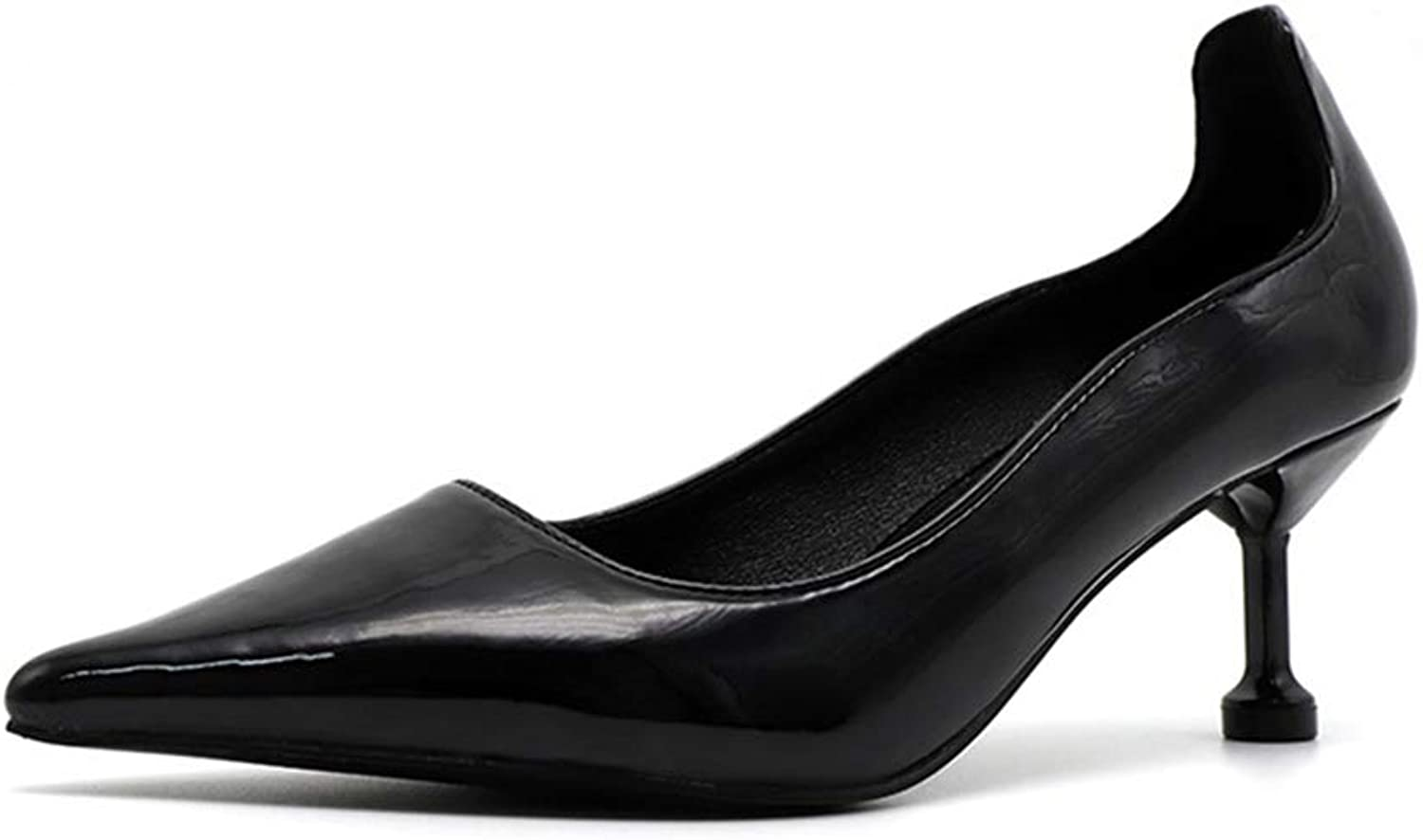 Sam Carle Women Pumps, Kitten Heel Pointed Toe Solid color Slip On Comfortable Office Pumps