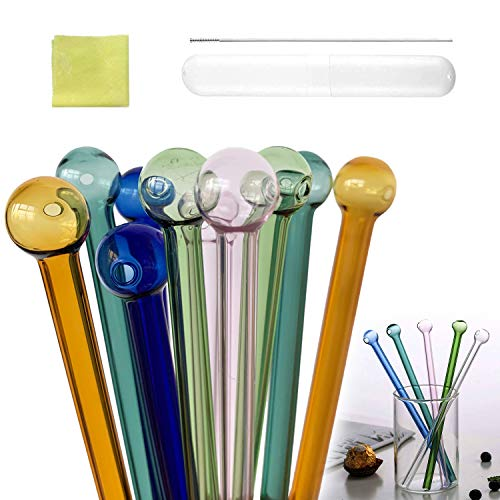 10 Pcs Glass Straw, Color Glass Drinking Straw, Round Head Reusable Drinking Straw, Cocktail Straw Coffee Straw High Boron Silicate Glass Straw with Cleaning Brush and Cleaning Cloth