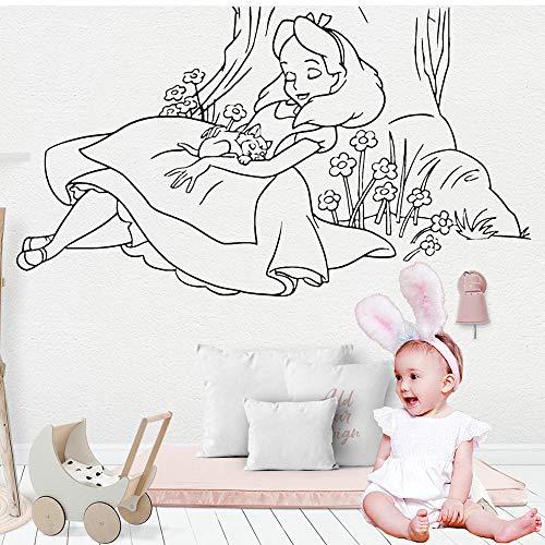Dibujos animados de calcomanías de pared Escuela Aula Arte Decoración Hermosa Sleepy Girl Vinilo Pegatinas de la pared Decoración del hogar Nursery House-100x57cm