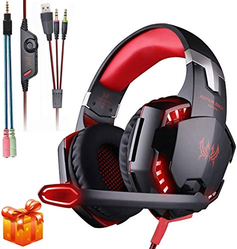 KOTION Each G2000 Gaming Headset Xbox One Headset with 7.1 Surround Sound&Noise Canceling Mic&LED Light,Bass Surround,Compatible with PC, PS4, Xbox One Controller(Adapter Not Included)-Red