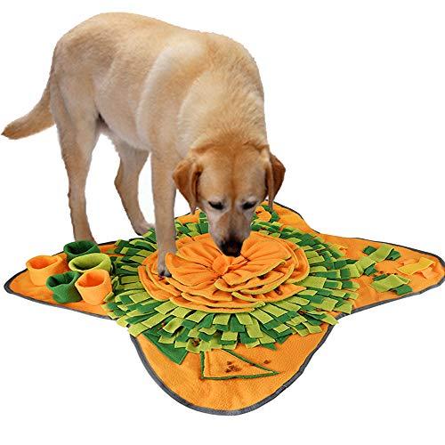 IEUUMLER Schnüffelteppich für Hunde Riechen Trainieren Intelligenzspielzeug Futtermatte Trainingsmatte für Haustier Hunde Katzen IE081 (72x71cm, Orange & Green)
