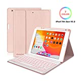 Keyboard Case for iPad 10.2 2019 7th Gen - 7 Color Backlit Wireless Detachable BT Keyboard - Built-in Pencil Holder - Auto Sleep/Wake Cover - Tablet Case for iPad 10.2' 2019 (Pink)