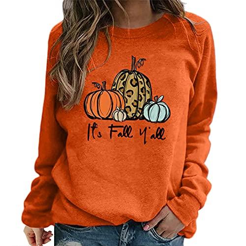 Calabaza impresión cuello redondo manga larga camisetas para adolescentes niñas clásico moda top sudadera, naranja, 3XL
